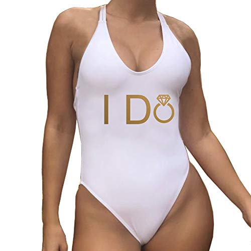 Bridal Wedding Suit - Yarsiman I do one Piece Bathing Suit Swimsuit with Cross Back for Romantic Wedding Bridal Shower Anniversary Engagement Party