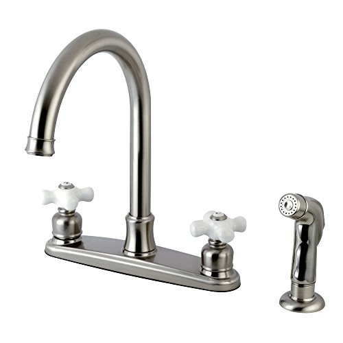 Kingston Brass FB7798PXSP Victorian 8-inch Centerset Kitchen Faucet, Brushed Nickel ()