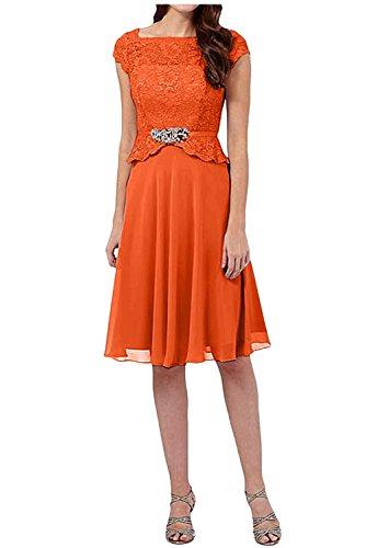 Linie Spitze Abendkleider Orange Rock Charmant Damen A Knielang Brautmutterkleider Kurzarm Partykleider xvq8qwtHE