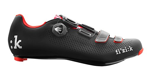 Fizik R4 UOMO BOA Road Cycling Shoes, Black/Red, Size 44  Black/Red