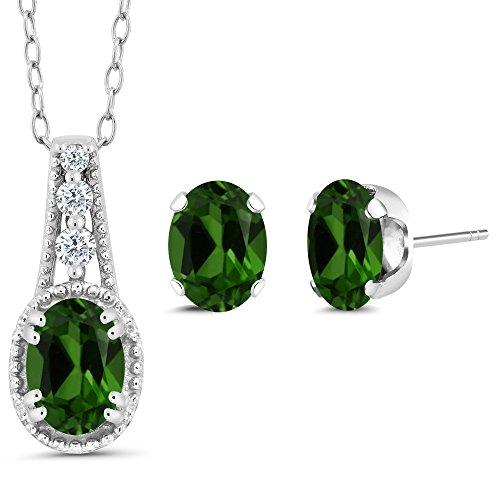 1.43 Ct Oval Green Chrome Diopside 14K White Gold Pendant Earrings Set