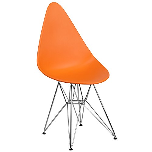 Flash Furniture Allegra Series Teardrop Orange Plastic Chair with Chrome Base