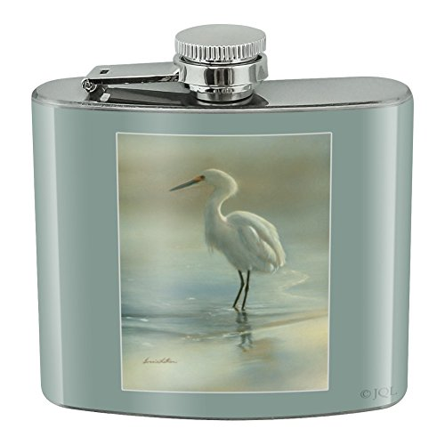 White Egret in the Pond Stainless Steel 5oz Hip Drink Kidney Flask