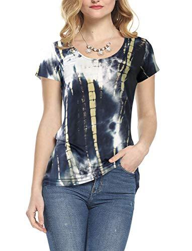(Amoretu Women's Bandhnu Basic T-Shirts Short Sleeve Scoop Neck Top for Summer(Royal,XL))