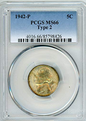 1942 P Jefferson Type 2 Nickel MS-66 PCGS