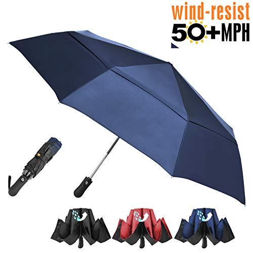 Prodigen Inverted Folding Umbrella Travel Umbrella Windproof Compact Umbrella Inside Out Umbrella Reversible Reverse Umbrella Automatic Open and Close Umbrella for Woman & Man UV Sun & Rain - Double Vent