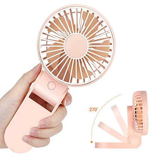 Tripole Mini Handheld Fan USB Portable Fans Rechargeable Battery Operated Foldable Desk Fan 3 Speed Hanging Personal Fan for Home Office Indoor Use Outdoor Travel]()