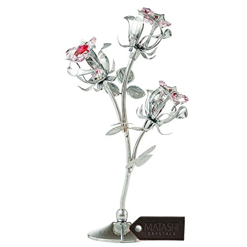 (Matashi Everlasting Rose Flower Tabletop Ornament Metal Decorative Home Décor, Gift for Mother (8.5 inch Rose, Silver with Red Crystals))