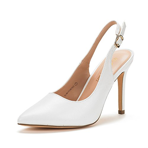 DREAM PAIRS Women's Slim-Pointed White PU High Heel Pump Shoes - 9 M US (White Slingback Heels)