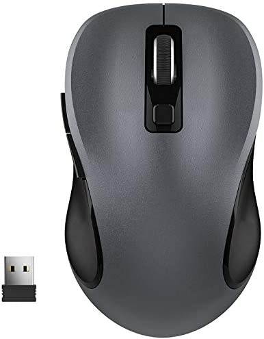 WisFox 2.4G Wireless Mouse for Laptop, Ergonomic Computer Mouse with USB Receiver and three Adjustable Levels, 6 Button Cordless Mouse Wireless Mice for Windows Mac PC Notebook (Grey)