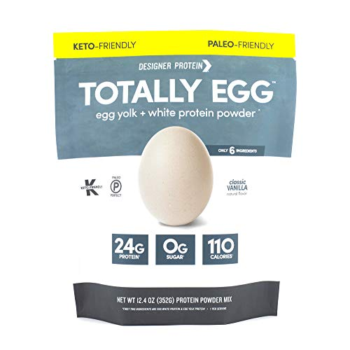 Designer Protein Totally Egg, Classic Vanilla, 12.4 Ounce, Egg White & Yolk Protein Powder (Best Egg White Protein Powder)