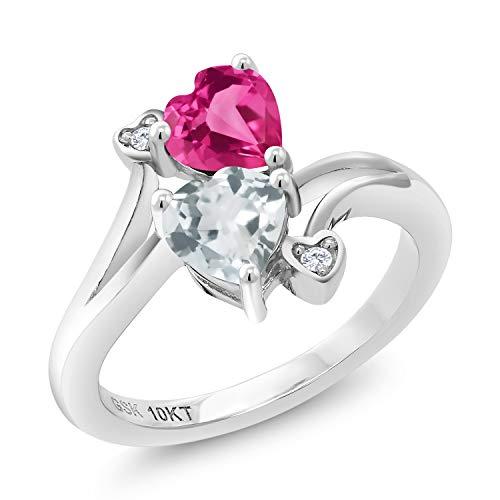 Gem Stone King 1.02 Ct Pink Created Sapphire Sky Blue Aquamarine 10K White Gold Ring (Size 8) Aquamarine Pink Sapphire Ring