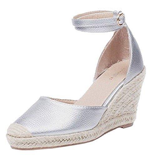 SHU CRAZY Womens Ladies Ankle Buckle Strap Platform High Wedge Heel Espadrille Sandals Shoes - N37 Silver 9bzlZ