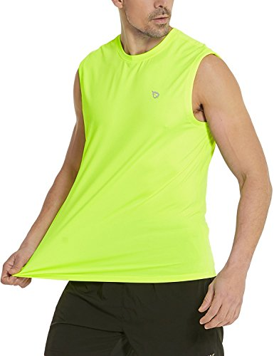 (Baleaf Men's Performance Quick-Dry Muscle Sleeveless Shirt Tank Top Neon Yellow Size L)