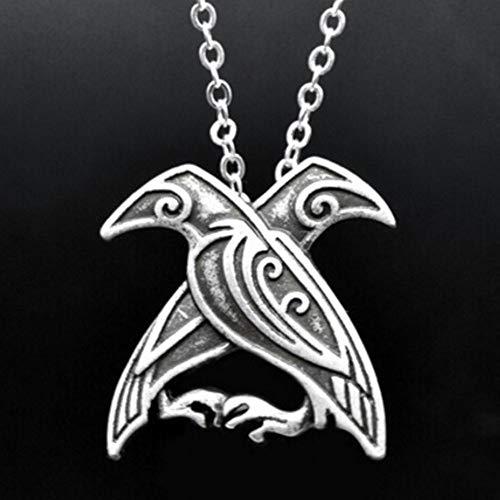 (Unisex Gift Crow Hand Decor Carved Vikings Ravens Pendant Necklace Odin)