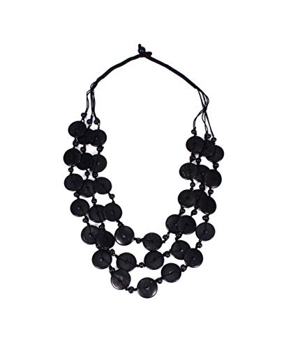 Nataliya Black Coconut Shell Wood Statement Necklace