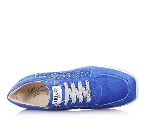 LIU JO - Blaue Schuhe aus Wildleder, mit Schnürsenkel, seitlich dekoriert mit Strass, Jungen