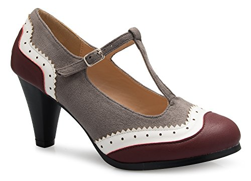 (OLIVIA K Womens Mary Jane Pumps - Low Heels - Two Color Vintage Retro Round Toe Shoe Grey Burgundy)