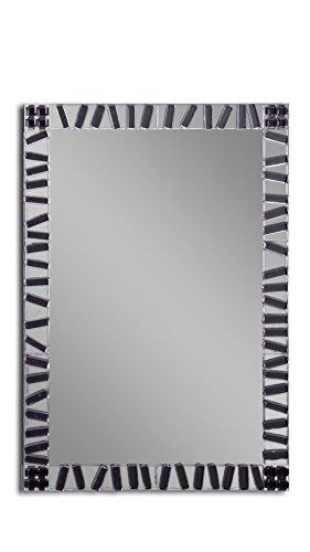 MirrorsHome | Handmade Wall Mounted Mosaic Rectangle Framed Bathroom Modern Zebra Fused Glass Mirror 31.inch X 22.inch