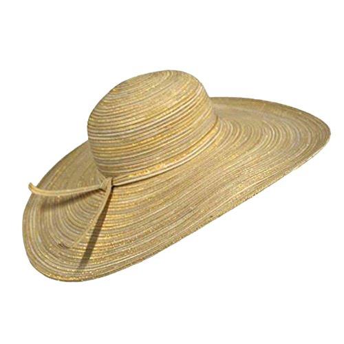 "Luxury Divas Natural Tan Metallic 6"" Wide Flat Brim Floppy Hat"