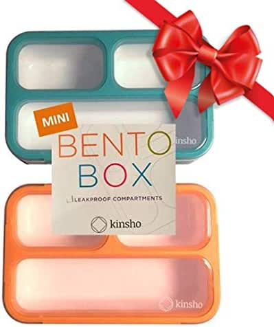 MINI Lunch-Box Snack Containers for Kids | SMALL Bento-Box Portion Container | Toddler Pre-School | Leak-proof Boxes for Work, Travel | Best for Adults Boys or Girls | Blue + Orange Set of 2