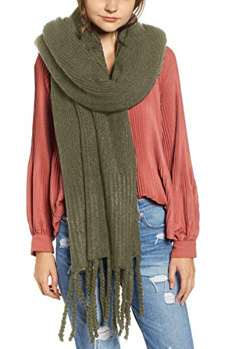 - FREE PEOPLE JADEN RIBBED FRINGE BLANKET SCARF SHAWL (Olive Green)
