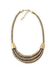 Qiyun Chunky Twist Tribal Antique Gold Bib Statement Unisex Men's Necklace Torsion Unisexe De L'Or Des Hommes Collier