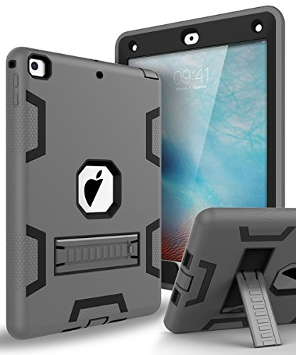 TOPSKY Case for New iPad 9.7 2018,iPad 6th/5th Generation Case,Three Layer Shockproof Armor Defender Protective Case Cover for Apple iPad 9.7 2017/2018 A1893 A1954 A1822 A1823,Grey Black