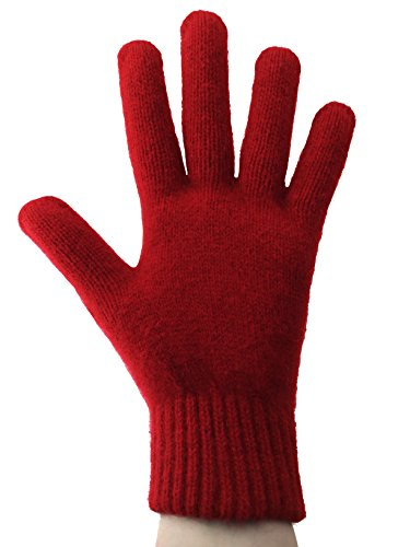 PossumDown Lightweight Brushtail Possum Merino Wool Blend Gloves (Small, Ruby) ()