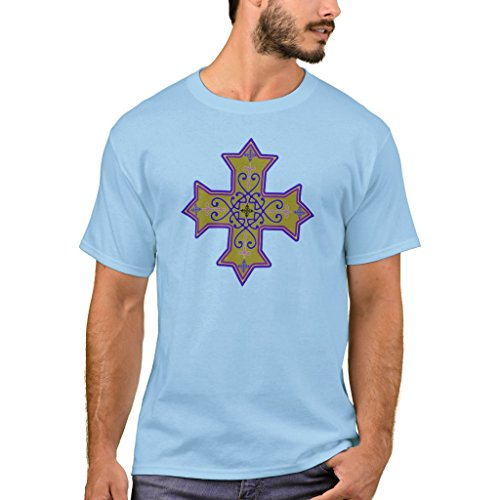 Zazzle Men's Basic T-Shirt, Pretty Gold and Pink Coptic Cross T-Shirt, Light Blue S