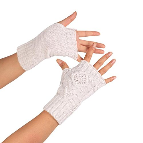 (PASATO Knitted Arm Fingerless Winter Gloves Soft Warm Mitten Half Fingerless Thumb Hole Warm Gloves Mittens for Women(White,Free Size))