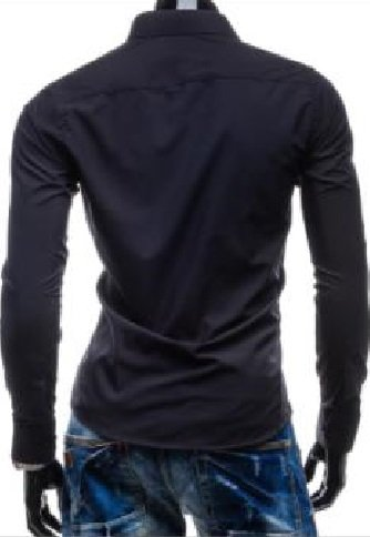 Hoffnung Solid Slim Casual Fashion Business Shirt Trend for Men M, Black. by Hoffnung (Image #3)