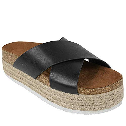 (Yu Li Women's Platform Espadrilles Criss Cross Slide-on Open Toe Faux Leather Studded Summer Sandals Black 37 )
