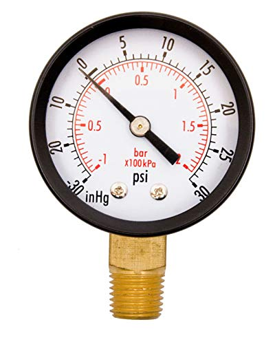 "2"" Utility Vacuum Pressure Gauge, WOG, 1/4"" NPT Lwr, used for sale  Delivered anywhere in USA"