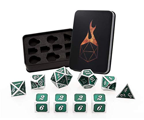 (Forged Dice Co. Metal Polyhedral Dice (Set of 10 Polyhedral (Extra D6s) w/Tin, Guardian Silver with Green Enamel Polyhedral Set of 10 Polyhedral (Extra D6s) w/Tin))