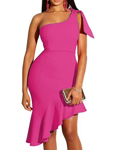 Mokoru Women's Sexy One Shoulder Sleeveless Ruffle Bodycon Midi Club Party Dress, X-Large, Rose -