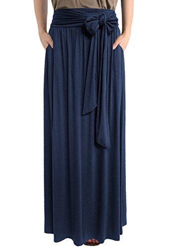 TRENDY UNITED Women's Bohemian Tie Waist Sash Bow Shirring Pocket Maxi Skirt (NVY, X-Large) (Bow Comfy)