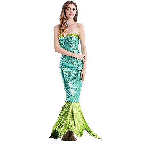 HUGGUH Movie Mermaid Cosplay Disfraces Halloween Costume Sexy Green Mermaid (Disfraces De Halloween Chinos)