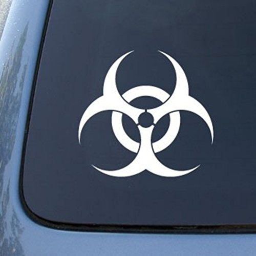 "CMI574 Biohazard Symbol   Nuclear   Die Cut Vinyl Car Decal Sticker for Car Window Bumper Truck Laptop Ipad Notebook Computer Skateboard Motorcycle   Premium White Vinyl Decal   5.8"""