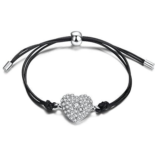 Teniu 24K Silver Plated Copper Heart Bracelet Adjustable Charm Cubic Zirconia Bracelet Fashion Jewelry For Women Girls(Valentines Day Gift) (Silver 2) (Silver Plated Heart Bracelet)