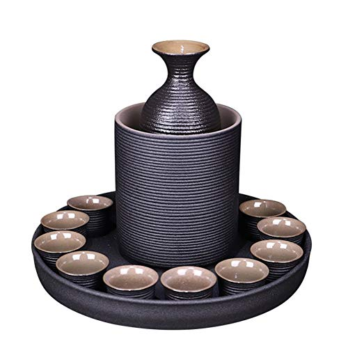 Sake Set of 13 Pieces Japanese Style Traditional Porcelain Crafts with Warmer Black Ceramic for Home (color : Ribbed)