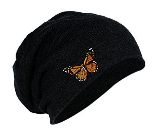 Monarch Butterfly Embroidery Embroidered Slouch Long Beanie Skully Hat Cap Black (Beanie Butterfly Embroidered)
