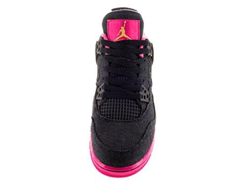Nike Air Jordan 4 Retro Gg, Zapatillas de Running Para Niñas Negro / Amarillo / Rosa (Drk Obsdn / Mtllc Gld-Vvd Pnk-Wh)