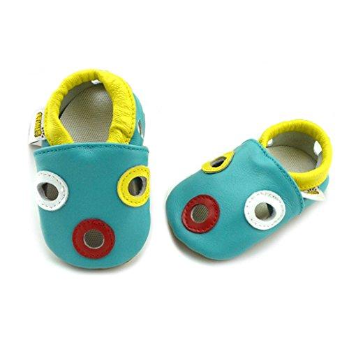 fygood Baby Soft Sole zapatos de piel Zapatitos para verano Girafe blue Talla:XL:24-36months/inner length:5.7in blue round
