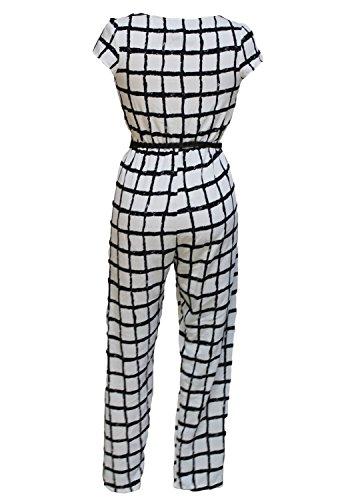 Damen Schwarz & Weiß Tief V-Ausschnitt Jumpsuit Catsuit Clubwear Kleidung Größe UK 10
