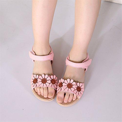 Douces Lumino 5 Princesse Ouvert Chaussures 4 Plage Chaussures de Sandales Filles Bébé Bout Fleur D'été Mignon SwqIrnSa