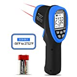 Infrared Thermometer-HOLDPEAK HP-2732 Digital Dual Laser Infrared Thermometer IR Temperature Gun Non-Contact infrared thermometer -50℃~1500℃(-58℉~2732℉),D:S=30:1 with Emissivity Adjustable,Max/Min/Avg LCD Backlight and Lamp light for Forge Smelting Foundry