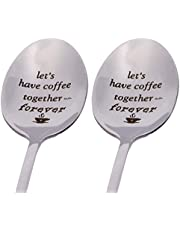 Penta Angel Long Handle 304 Stainless Steel Coffee Spoons for Coffee Lovers Friends Romantic Gift Let's Have Coffee Together Forever Spoon for Her Him Anniversary Wedding Gift, 2PCS