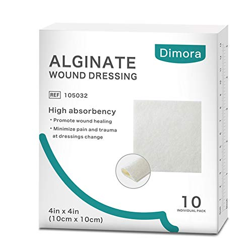 Dimora Alginate Dressing 4.25'' x 4.25'' Sterile Pad, Non-Adherent Antimicrobial Alginate Wound Dressing, 10 Individual Wrapped Per Box