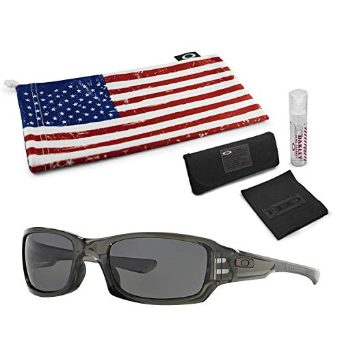 Oakley Fives Squared Sunglasses (Gray Smoke Frame, Warm Gray Lens) with Lens Cleaning Kit and Country Flag ()